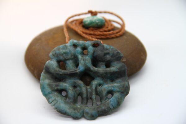 aotea necklace, blue stone,